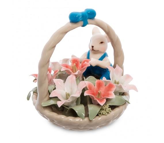 Статуэтка ''Мышонок с цветочной корзинкой''