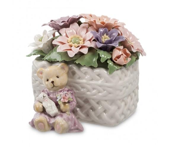 Муз. фигурка ''Медвежонок с цветами'' (Pavone)