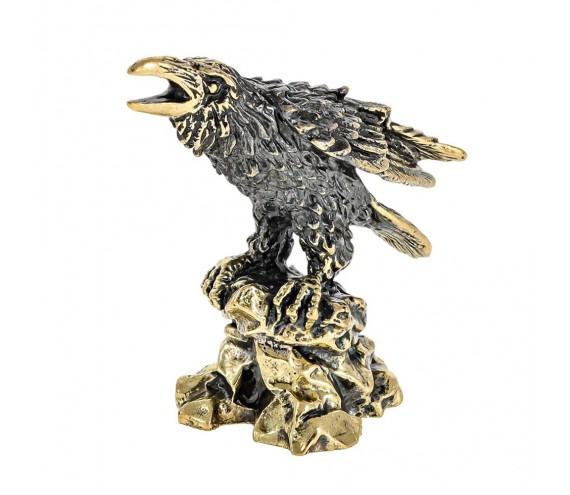 Птица Ворон на камне без подставки