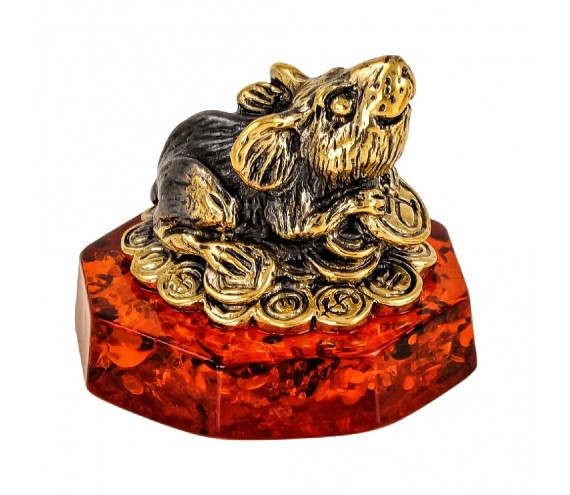 Мышь Фен-шуй на монетках Сувенир (коньячный)