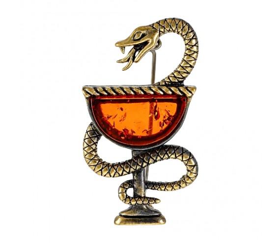 Брошь Змея в Геральдике (коньячный)