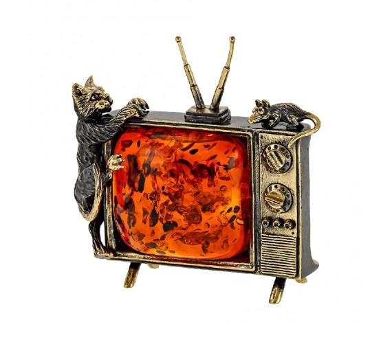 Кот на телевизоре ловит мышку Сувенир (белый)