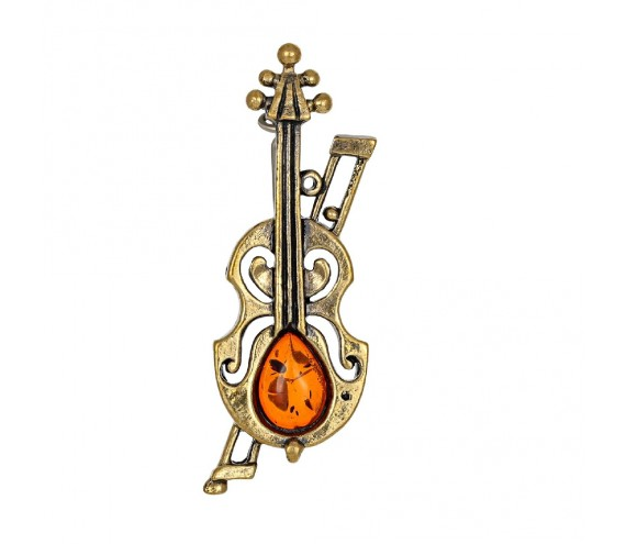 Брошь Скрипка Амати