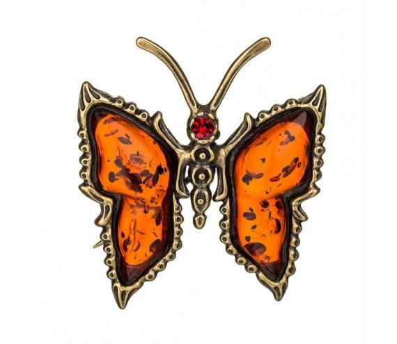 Брошь «Бабочка со стразом»