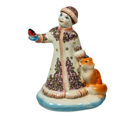 Скульптура Снегурочка с лисой цветная