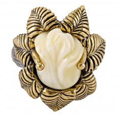 Кольцо Розочка Нимфа (белый)