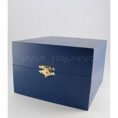 Подарочная коробка для подстаканника, синяя/красная