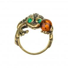 Кольцо Лягушка с шаром янтарь